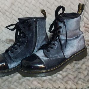 Doc Martin's grey velvet pooch boot size 3